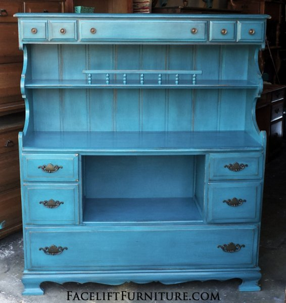 Maple Hutch in distressed Peacock Blue with Black Glaze. Original pulls. From Facelift Furniture's Hutches, Cabinets & Buffets collection.