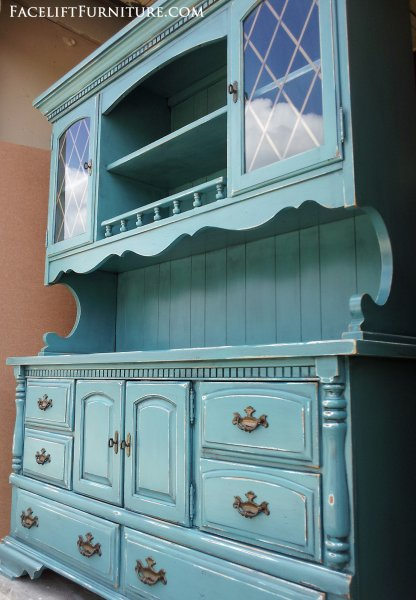 Large Hutch in distressed Sea Blue with Black Glaze. Original hardware. From Facelift Furniture's Hutches, Cabinets & Buffets collection.