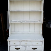 Ethan Allen Pine Hutch in distressed Antiqued White. Original pulls. From Facelift Furniture's Hutches, Cabinets & Buffets collection.