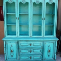 Vintage China Cabinet in Turquoise with Black Glaze. Original pulls. From Facelift Furniture's Hutches, Cabinets & Buffets collection.