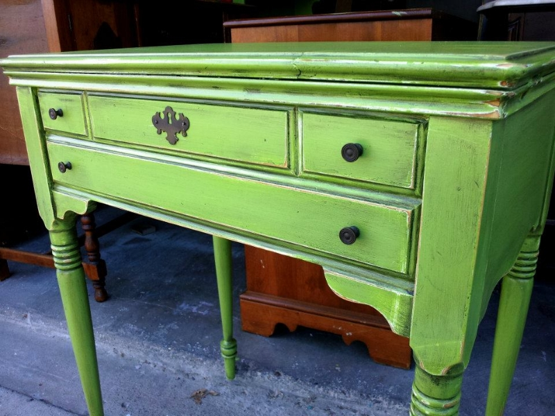 Antique sewing table in Lime Green and Black Glaze.  Purchased to be used as a vanity. From Facelift Furniture's Lime Green Furniture collection.