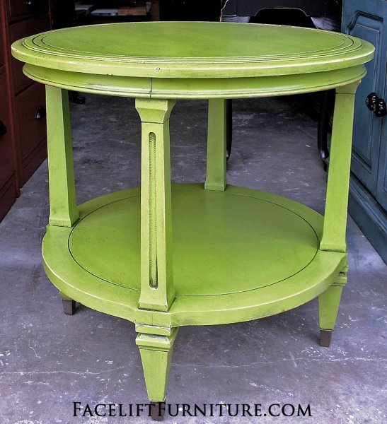 Lime Green Vintage Round End Table With Black Glaze. From Facelift Furnitureu0027s  Lime Green Furniture