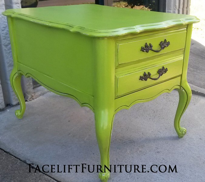 Lime Green French End Table With Black Glaze From Facelift Furniture S Collection