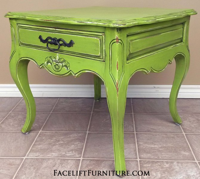 Ornate Curvy End Table In Lime Green With Black Glaze Distressing Revealing White Primer