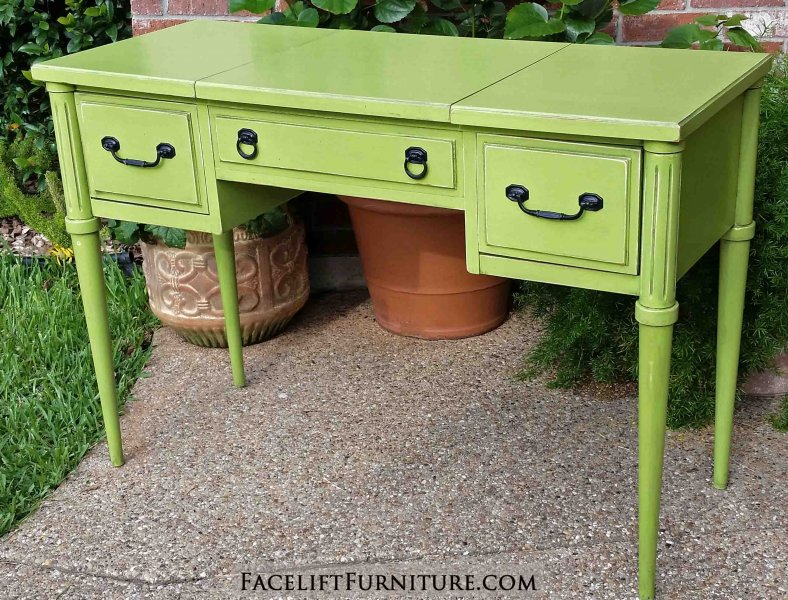Vanity Desk In Distressed Lime Green With Black Glaze. Two Side Drawers,  With Top