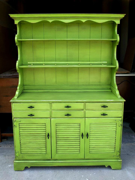 Maple Hutch Upstyled In Lime Green And Black Glaze From Facelift Furniture S