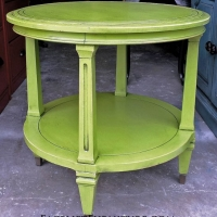 Lime Green Vintage Round End Table with Black Glaze. From Facelift Furniture's Lime Green Furniture collection.