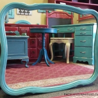 Vintage French Mirror in distressed Turquoise with Black Glaze. From Facelift Furniture's Mirrors Collection.