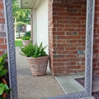 Large Ornate Mirror in distressed Aspen Grey with Black Glaze,