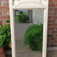 Ornate Mirror in distressed Off White with Tobacco Glaze. From Facelift Furniture's Mirrors Collection.