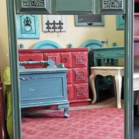 Vintage Mirror in distressed Sea Blue with Black Glaze. From Facelift Furniture's Mirrors Collection.