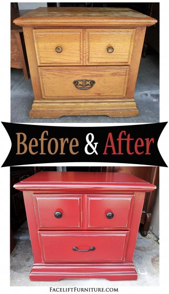 Nightstand in Barn Red with Black Glaze - Before & After from Facelift Furniture