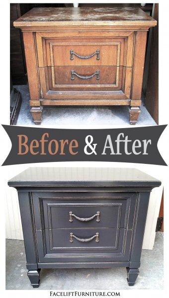 Nightstand in distressed Black - Before & After from Facelift Furniture