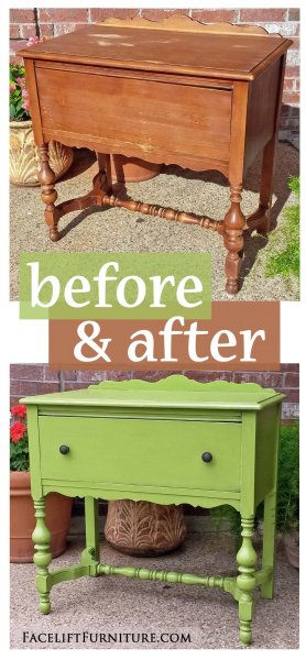 Antique Nightstand in distressed Lime Green with Black Glaze - Before & After from Facelift Furniture