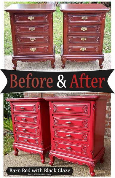 Matching Ornate Nightstands in distressed Barn Red with Black Glaze - Before & After from Facelift Furniture