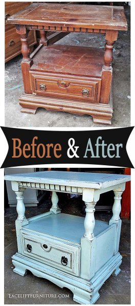 Chunky Nightstand in distressed Robin's Egg Blue with Black Glaze. From Facelift Furniture's Nightstands Before & After collection.