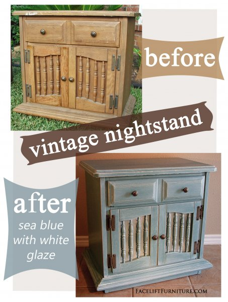 Sea Blue Nightstand Before & After