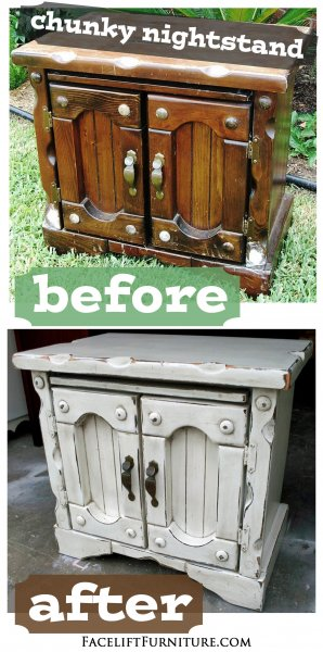 Chunky Nightstand in distressed Off White with Tobacco Glaze - Before and After from Facelift Furniture