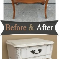 Curvy French Nightstand in distressed Antiqued White with light Tobacco Glaze. Before and After from Facelift Furniture