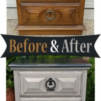 Before & After - Nightstand in distressed Black and Aspen Gray, with Black Glaze accenting detailed areas. Distressing reveals white primer and wood tones. Original pulls painted dark bronze. From Facelift Furniture's Nightstands Before & After collection.