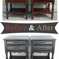 Nightstands in distressed Black - Before and After from Facelift Furniture