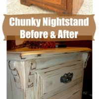 Chunky nightstand in distressed Off White with Tobacco Glaze. Before & After from Facelift Furniture