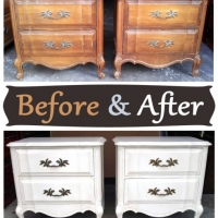 French Nightstands in distressed Antiqued White with Tea stained Glaze - Before & After from Facelift Furniture
