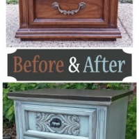 Before & After - Ornate Nightstand in distressed Robin's Egg Blue with Black Glaze and Black top and bottom. Pulls spray painted Black. From Facelift Furniture's Nightstands Before & After collection.