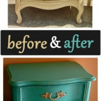 Before & After - French nightstand in distressed Turquoise with Tea Stained Glaze. From Facelift Furniture's Nightstands Before & After collection.