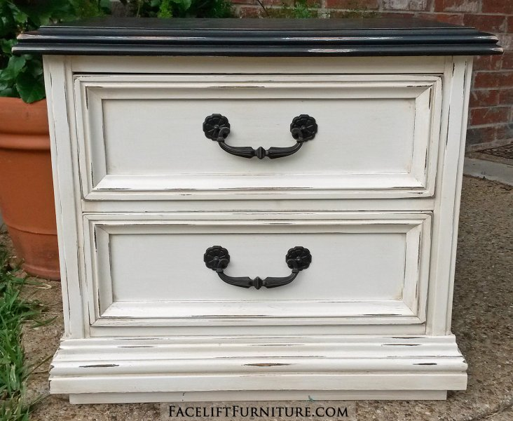 Nightstand in distressed Black and Off White with Tobacco Glaze. Vintage pulls painted dark bronze.