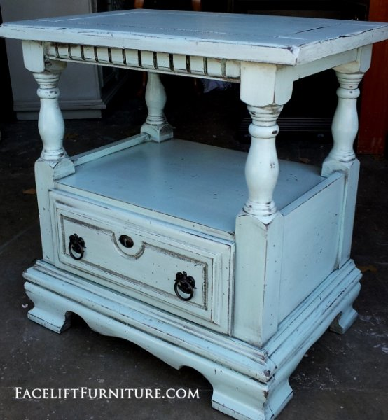 Chunky Nightstand in distressed Robin's Blue with Black Glaze. From Facelift Furniture's Nightstands collection.
