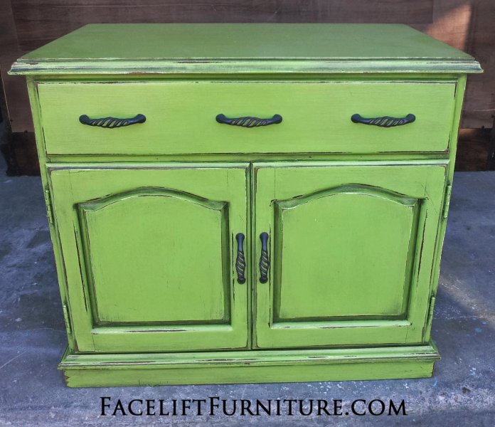 Handmade Nightstand in Lime Green with Black Glaze. From Facelift Furniture's Nightstands collection.