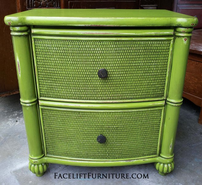 Nightstand in Lime Green with Black Glaze. From Facelift Furniture's Nightstands collection.