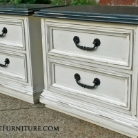 Matching Nightstands in distressed Black and Off White with Tobacco Glaze. Vintage pulls painted dark bronze.