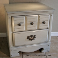 Distressed Grey Nightstand with Tea Stained Glaze. From Facelift Furniture's Nightstands collection.