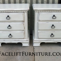 Matching Nightstands in distressed Antiqued White. From Facelift Furniture's Nightstands collection.