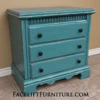 Large Nightstand in distressed Sea Blue with Black Glaze. Three drawers, with new black knobs. From Facelift Furniture's Nightstands collection.