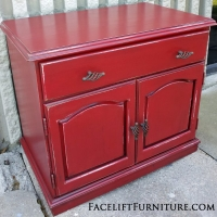 Handmade Nightstand in Barn Red with Black Glaze. From Facelift Furniture's Nightstands collection.