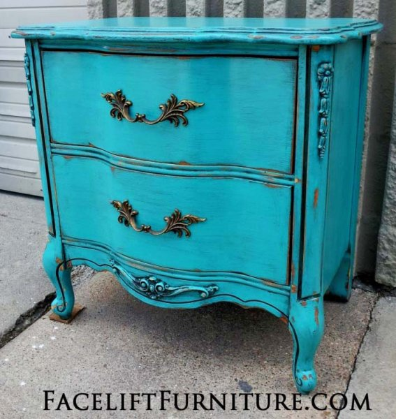 French Provincial Nightstand, in distressed Turquoise with Black Glaze, over white primer. From Facelift Furniture's Nightstands collection.