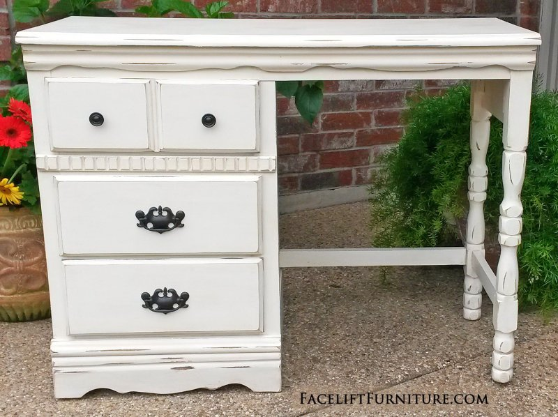 Distressed Off White Desk With Glaze Three Drawers Original S And Pulls