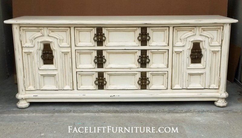 Large Chunky Dresser in distressed Off White with Tobacco Glaze. Original vintage pulls!