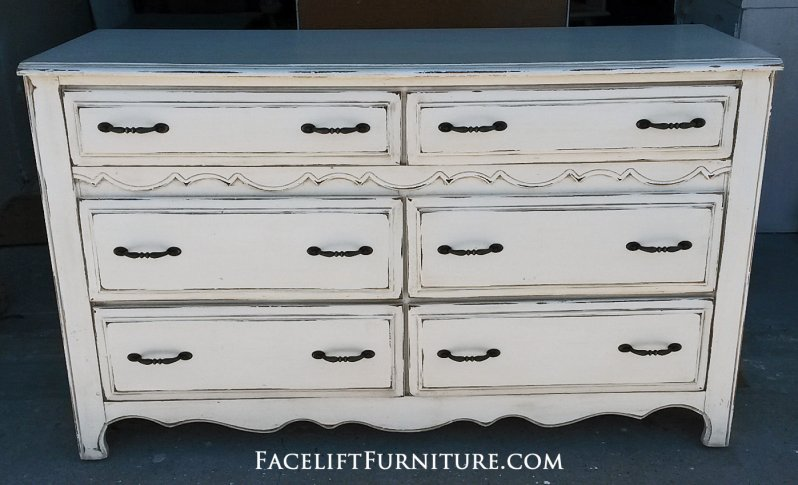 Distressed Off White Dresser with Tobacco Glaze. New pulls. From Facelift Furniture's Dressers collection.