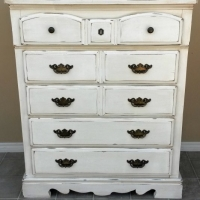 "Large Pine Chest of Drawers in distressed Off White with Tobacco Glaze. Original pulls. 46.5"" tall, 37.5"" wide, 18"" deep."