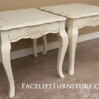 French End Tables in distressed Off White with Tobacco Glaze. From Facelift Furniture's End Tables collection.