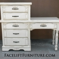 Desk with Chest of Drawers in distressed Off White with Tobacco glaze. From Facelift Furniture's Desk & Vanities collection.