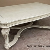 Ornate Coffee Table in distressed Off White with Espresso Glaze. From Facelift Furniture's DIY Inspiration album.