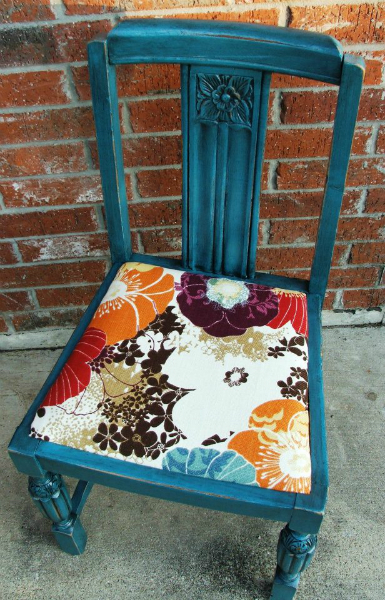 Antique chair upstyled in Peacock Blue, with Black Glaze accenting detailed areas.  New seat cushion fabric.