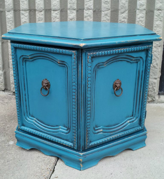 Hexagon end table in distressed Peacock Blue and Black Glaze.