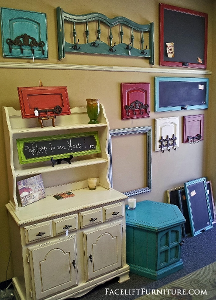 Repurposed & Upsytled! Coat & towel racks made from dresser drawer fronts, cabinet doors, and headboards! From Facelift Furniture's Repurposed Wall Pieces collection.