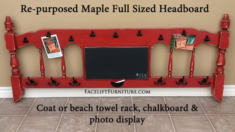 Maple Headboard in distressed Blazing Orange and Black Glaze, repurposed into a coat rack, photo display and chalkboard! From Facelift Furniture's Re-purposed Wall Pieces collection.